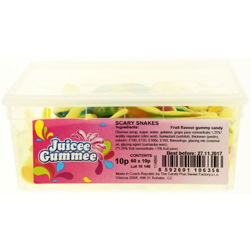 Juicee Gummee Scary Snakes Full Tub 60